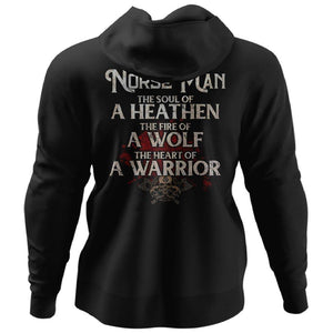 Viking, Norse, Gym t-shirt & apparel, The Norse Man, BackApparel[Heathen By Nature authentic Viking products]Unisex Pullover HoodieBlackS