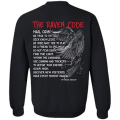 Viking, Norse, Gym t-shirt & apparel, The Raven Code, BackApparel[Heathen By Nature authentic Viking products]Unisex Crewneck Pullover SweatshirtBlackS