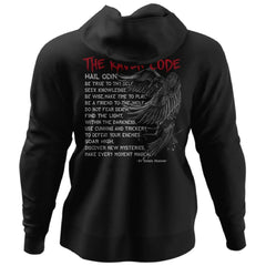 Viking, Norse, Gym t-shirt & apparel, The Raven Code, BackApparel[Heathen By Nature authentic Viking products]Unisex Pullover HoodieBlackS