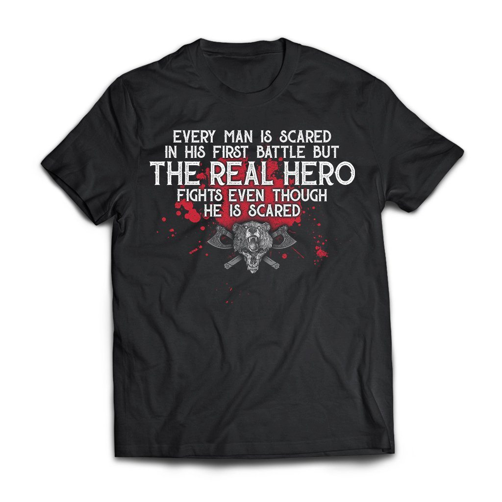 Viking, Norse, Gym t-shirt & apparel, The Real Hero, FrontApparel[Heathen By Nature authentic Viking products]Next Level Premium Short Sleeve T-ShirtBlackX-Small