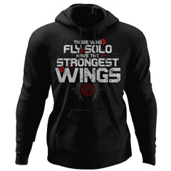 Viking, Norse, Gym t-shirt & apparel, The Strongest Wings, FrontApparel[Heathen By Nature authentic Viking products]Unisex Pullover HoodieBlackS