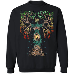 Viking, Norse, Gym t-shirt & apparel, The Tree Of Life, FrontApparel[Heathen By Nature authentic Viking products]Unisex Crewneck Pullover Sweatshirt 8 oz.BlackS