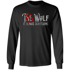 Viking, Norse, Gym t-shirt & apparel, The wolf is always scratching, frontApparel[Heathen By Nature authentic Viking products]Long-Sleeve Ultra Cotton T-ShirtBlackS