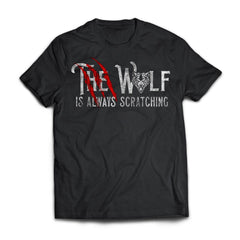 Viking, Norse, Gym t-shirt & apparel, The wolf is always scratching, frontApparel[Heathen By Nature authentic Viking products]Next Level Premium Short Sleeve T-ShirtBlackX-Small