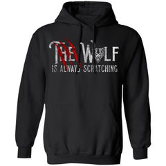 Viking, Norse, Gym t-shirt & apparel, The wolf is always scratching, frontApparel[Heathen By Nature authentic Viking products]Unisex Pullover Hoodie 8 oz.BlackS