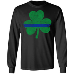 Viking, Norse, Gym t-shirt & apparel, Thin Blue Line St. Patrick's Shamrock, FrontApparel[Heathen By Nature authentic Viking products]Long-Sleeve Ultra Cotton T-ShirtBlackS