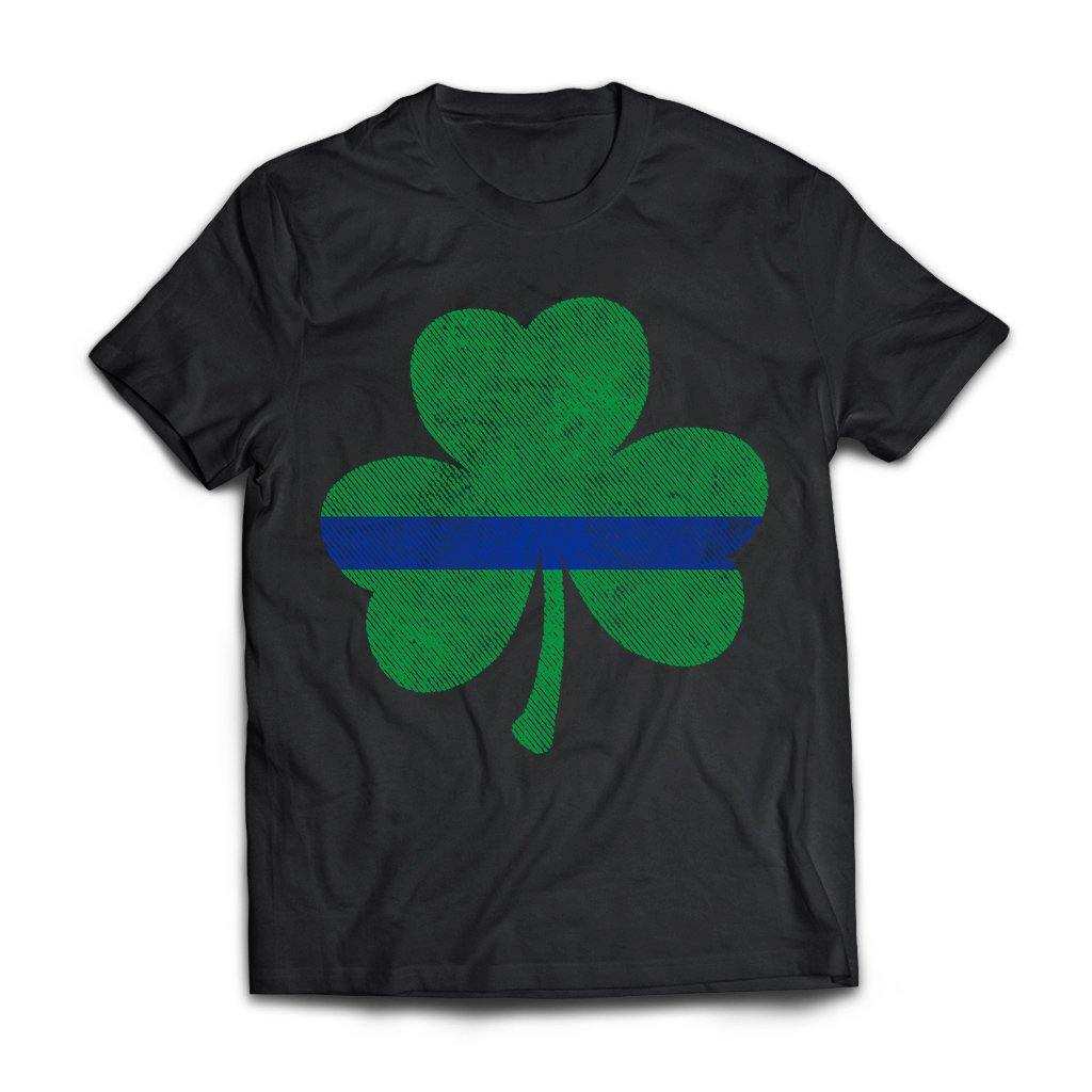 Viking, Norse, Gym t-shirt & apparel, Thin Blue Line St. Patrick's Shamrock, FrontApparel[Heathen By Nature authentic Viking products]Next Level Premium Short Sleeve T-ShirtBlackX-Small