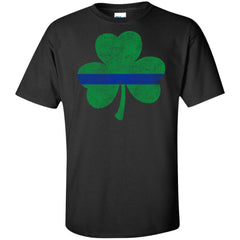 Viking, Norse, Gym t-shirt & apparel, Thin Blue Line St. Patrick's Shamrock, FrontApparel[Heathen By Nature authentic Viking products]Tall Ultra Cotton T-ShirtBlackXLT