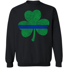 Viking, Norse, Gym t-shirt & apparel, Thin Blue Line St. Patrick's Shamrock, FrontApparel[Heathen By Nature authentic Viking products]Unisex Crewneck Pullover Sweatshirt 8 oz.BlackS