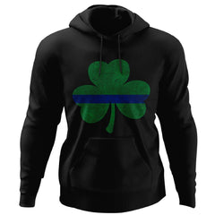 Viking, Norse, Gym t-shirt & apparel, Thin Blue Line St. Patrick's Shamrock, FrontApparel[Heathen By Nature authentic Viking products]Unisex Pullover HoodieBlackS