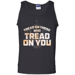 Viking, Norse, Gym t-shirt & apparel, Tread On Those Who Tread On You, FrontApparel[Heathen By Nature authentic Viking products]Cotton Tank TopBlackS