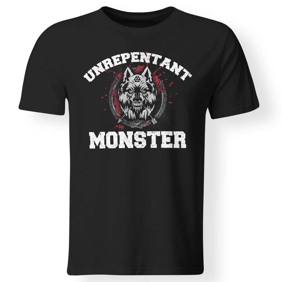 Viking, Norse, Gym t-shirt & apparel, Unrepentant Monster, FrontApparel[Heathen By Nature authentic Viking products]Gildan Premium Men T-ShirtBlack5XL