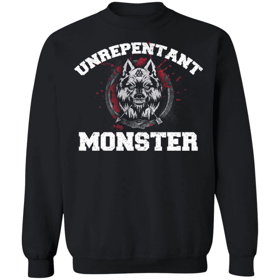 Viking, Norse, Gym t-shirt & apparel, Unrepentant Monster, FrontApparel[Heathen By Nature authentic Viking products]Unisex Crewneck Pullover SweatshirtBlackS