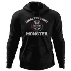 Viking, Norse, Gym t-shirt & apparel, Unrepentant Monster, FrontApparel[Heathen By Nature authentic Viking products]Unisex Pullover HoodieBlackS