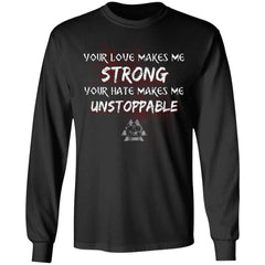 Viking, Norse, Gym t-shirt & apparel, Unstoppable, FrontApparel[Heathen By Nature authentic Viking products]Long-Sleeve Ultra Cotton T-ShirtBlackS