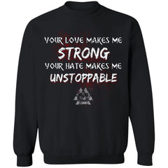 Viking, Norse, Gym t-shirt & apparel, Unstoppable, FrontApparel[Heathen By Nature authentic Viking products]Unisex Crewneck Pullover SweatshirtBlackS