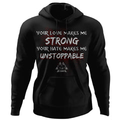 Viking, Norse, Gym t-shirt & apparel, Unstoppable, FrontApparel[Heathen By Nature authentic Viking products]Unisex Pullover HoodieBlackS