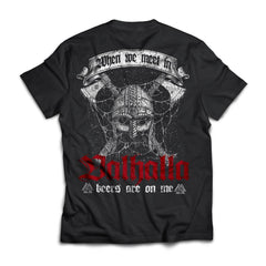 Viking, Norse, Gym t-shirt & apparel, Valhalla, BackApparel[Heathen By Nature authentic Viking products]Next Level Premium Short Sleeve T-ShirtBlackX-Small
