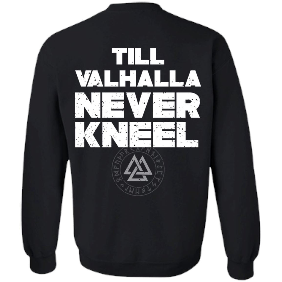 Viking, Norse, Gym t-shirt & apparel, Valhalla, BackApparel[Heathen By Nature authentic Viking products]Unisex Crewneck Pullover SweatshirtBlackS