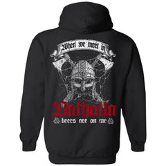 Viking, Norse, Gym t-shirt & apparel, Valhalla, BackApparel[Heathen By Nature authentic Viking products]Unisex Pullover HoodieBlackS