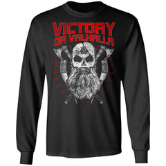 Viking, Norse, Gym t-shirt & apparel, Victory Or Valhalla, FrontApparel[Heathen By Nature authentic Viking products]Long-Sleeve Ultra Cotton T-ShirtBlackS
