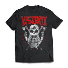 Viking, Norse, Gym t-shirt & apparel, Victory Or Valhalla, FrontApparel[Heathen By Nature authentic Viking products]Next Level Premium Short Sleeve T-ShirtBlackX-Small