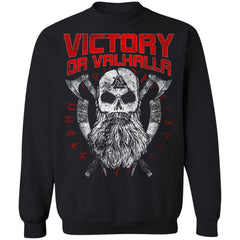 Viking, Norse, Gym t-shirt & apparel, Victory Or Valhalla, FrontApparel[Heathen By Nature authentic Viking products]Unisex Crewneck Pullover SweatshirtBlackS