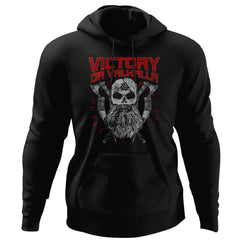 Viking, Norse, Gym t-shirt & apparel, Victory Or Valhalla, FrontApparel[Heathen By Nature authentic Viking products]Unisex Pullover HoodieBlackS