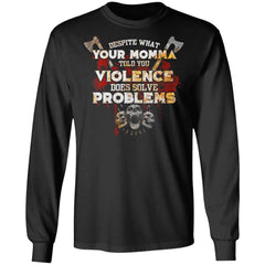 Viking, Norse, Gym t-shirt & apparel, Violence Does Solve Problem, FrontApparel[Heathen By Nature authentic Viking products]Long-Sleeve Ultra Cotton T-ShirtBlackS