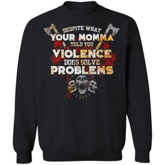 Viking, Norse, Gym t-shirt & apparel, Violence Does Solve Problem, FrontApparel[Heathen By Nature authentic Viking products]Unisex Crewneck Pullover Sweatshirt 8 oz.BlackS