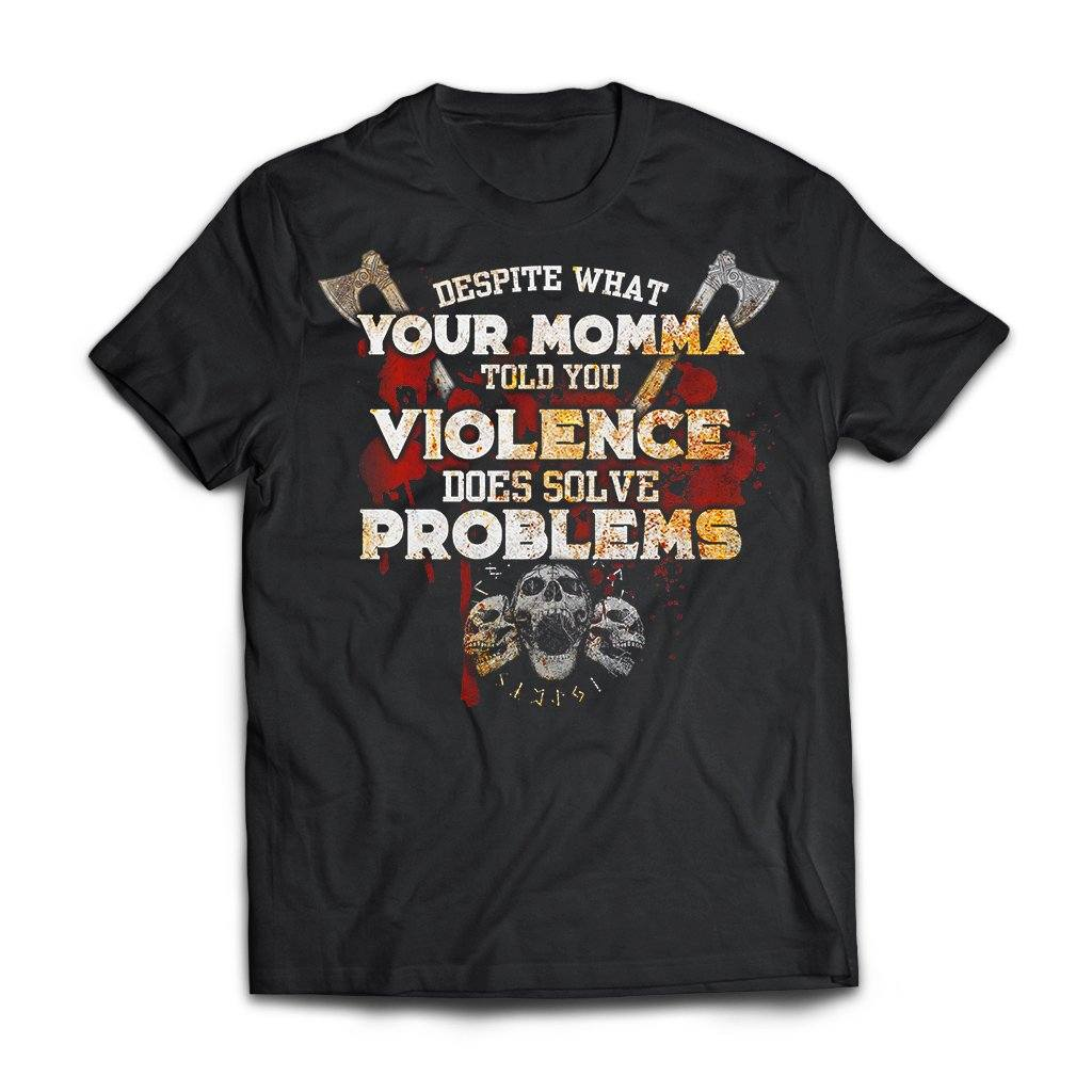 Viking, Norse, Gym t-shirt & apparel, Violence Does Solve Problems, FrontApparel[Heathen By Nature authentic Viking products]Next Level Premium Short Sleeve T-ShirtBlackX-Small