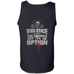 Viking, Norse, Gym t-shirt & apparel, Violence is not the answer, BackApparel[Heathen By Nature authentic Viking products]Cotton Tank TopBlackS