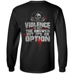 Viking, Norse, Gym t-shirt & apparel, Violence is not the answer, BackApparel[Heathen By Nature authentic Viking products]Long-Sleeve Ultra Cotton T-ShirtBlackS