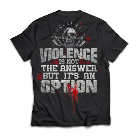Viking, Norse, Gym t-shirt & apparel, Violence is not the answer, BackApparel[Heathen By Nature authentic Viking products]Next Level Premium Short Sleeve T-ShirtBlackX-Small