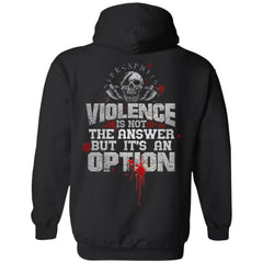 Viking, Norse, Gym t-shirt & apparel, Violence is not the answer, BackApparel[Heathen By Nature authentic Viking products]Unisex Pullover HoodieBlackS