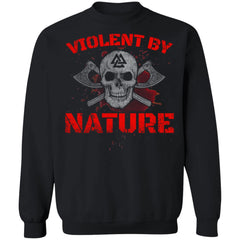 Viking, Norse, Gym t-shirt & apparel, Violent By Nature, FrontApparel[Heathen By Nature authentic Viking products]Unisex Crewneck Pullover SweatshirtBlackS