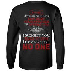 Viking, Norse, Gym t-shirt & apparel, Warning my sense of humor my hurt your feelings, backApparel[Heathen By Nature authentic Viking products]Long-Sleeve Ultra Cotton T-ShirtBlackS
