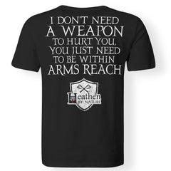 Viking, Norse, Gym t-shirt & apparel, weapon, arms reach, backApparel[Heathen By Nature authentic Viking products]Premium Men T-ShirtBlackS