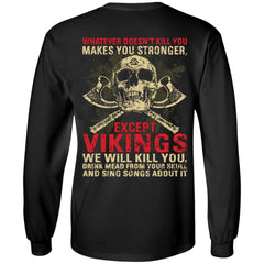 Viking, Norse, Gym t-shirt & apparel, Whatever Doesn't Kill You, BackApparel[Heathen By Nature authentic Viking products]Long-Sleeve Ultra Cotton T-ShirtBlackS