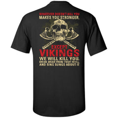 Viking, Norse, Gym t-shirt & apparel, Whatever Doesn't Kill You, BackApparel[Heathen By Nature authentic Viking products]Tall Ultra Cotton T-ShirtBlackXLT