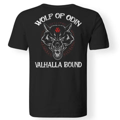 Viking, Norse, Gym t-shirt & apparel, Wolf Of Odin, BackApparel[Heathen By Nature authentic Viking products]Premium Men T-ShirtBlackS