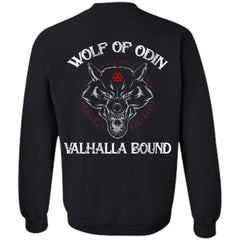 Viking, Norse, Gym t-shirt & apparel, Wolf Of Odin, BackApparel[Heathen By Nature authentic Viking products]Unisex Crewneck Pullover SweatshirtBlackS