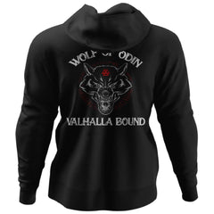 Viking, Norse, Gym t-shirt & apparel, Wolf Of Odin, BackApparel[Heathen By Nature authentic Viking products]Unisex Pullover HoodieBlackS