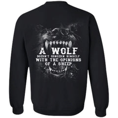 Viking, Norse, Gym t-shirt & apparel, Wolf, sheep, backApparel[Heathen By Nature authentic Viking products]Unisex Crewneck Pullover SweatshirtBlackS