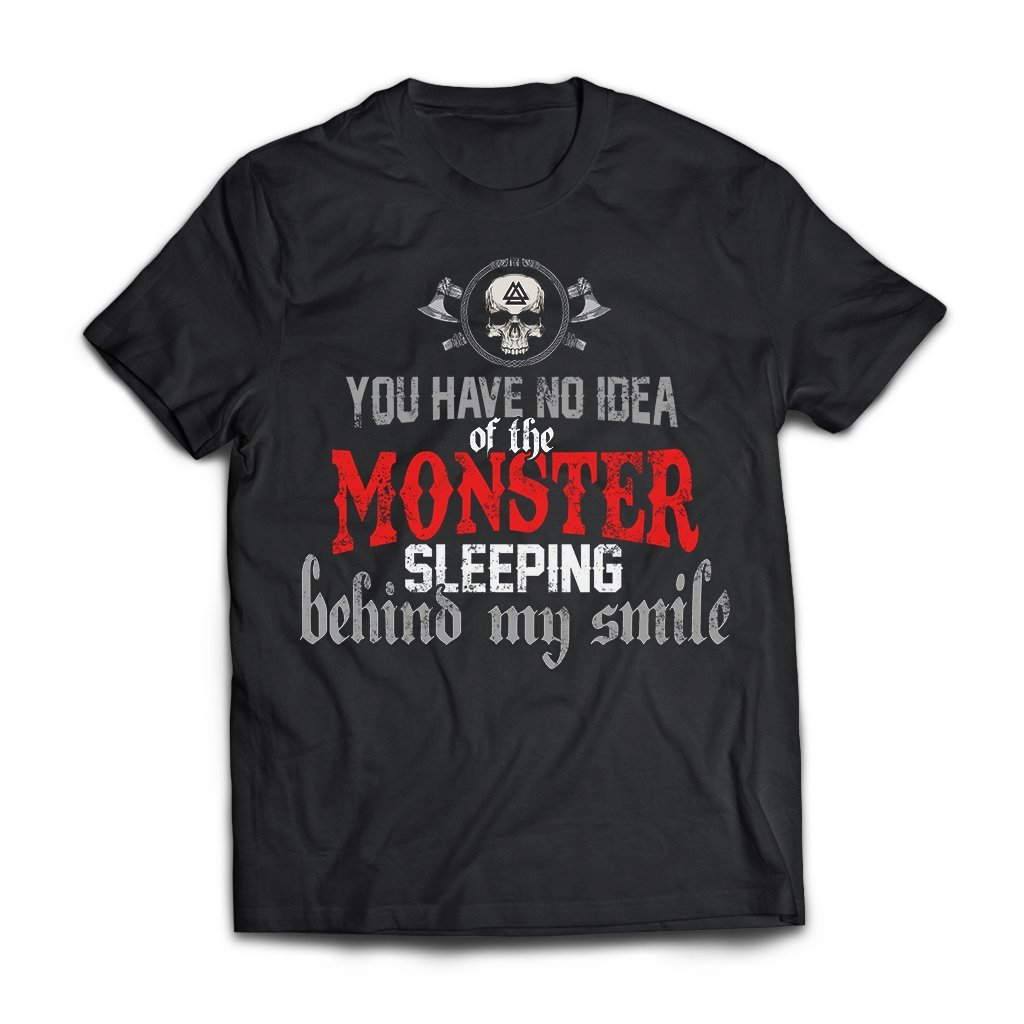 Viking, Norse, Gym t-shirt & apparel, You have no idea of the monster, frontApparel[Heathen By Nature authentic Viking products]Next Level Premium Short Sleeve T-ShirtBlackX-Small