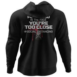 Viking, Norse, Gym t-shirt & apparel, You're too close, BackApparel[Heathen By Nature authentic Viking products]Unisex Pullover HoodieBlackS