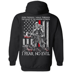 Viking T-shirt, Fear no evil, BackApparel[Heathen By Nature authentic Viking products]Unisex Pullover HoodieBlackS