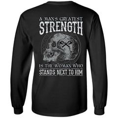 Viking T-shirt, Greatest strength, woman, backApparel[Heathen By Nature authentic Viking products]Long-Sleeve Ultra Cotton T-ShirtBlackS