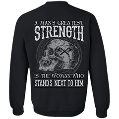 Viking T-shirt, Greatest strength, woman, backApparel[Heathen By Nature authentic Viking products]Unisex Crewneck Pullover SweatshirtBlackS