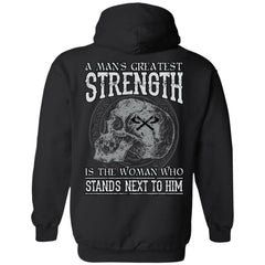 Viking T-shirt, Greatest strength, woman, backApparel[Heathen By Nature authentic Viking products]Unisex Pullover HoodieBlackS